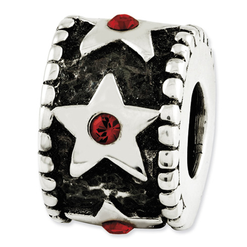Sterling Silver Reflections Red Swarovski Elements Star Bead