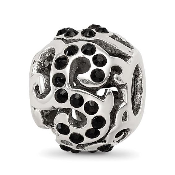 Sterling Silver Reflections Black Swarovski Elements Swirl Bead