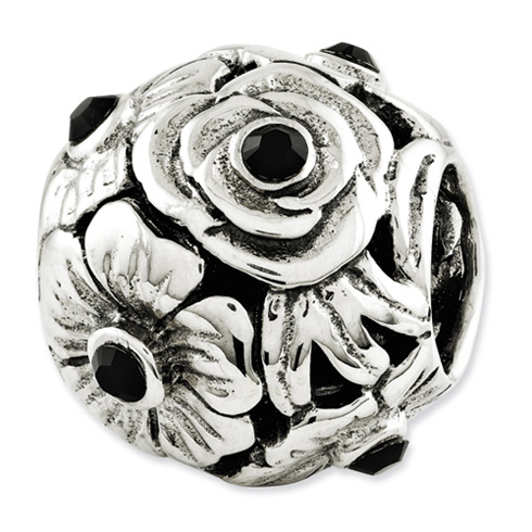 Sterling Silver Reflections Black Swarovski Elements Flower Bead