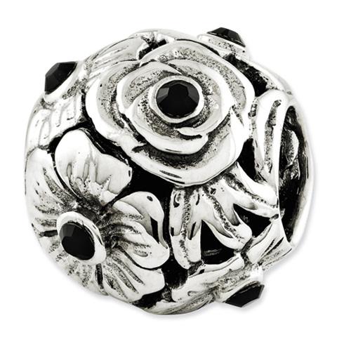Sterling Silver Reflections Black Swarovski Elements Flower Bead