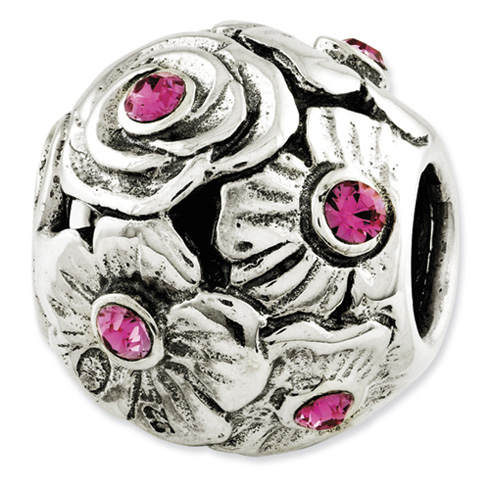 Sterling Silver Pink Swarovski Elements Flower Bead