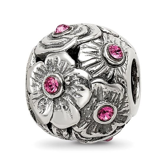 Sterling Silver Pink Swarovski Elements Flower Bead
