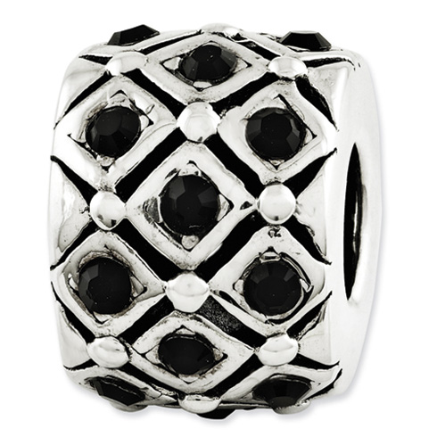 Sterling Silver Reflections Patchwork Black Swarovski Elements Bead