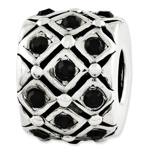 Sterling Silver Reflections Patchwork Black Swarovski Elements Bead