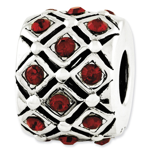 Sterling Silver Reflections Red Swarovski Elements Bead