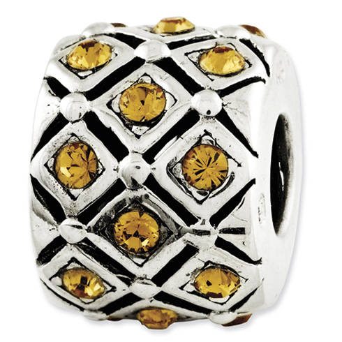 Sterling Silver Reflections Yellow Swarovski Elements Bead