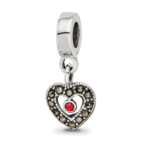 Sterling Silver Reflections Marcasite Heart Dangle Bead
