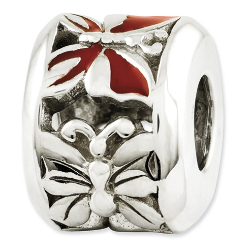 Sterling Silver Reflections Red Enameled Butterfly Bead