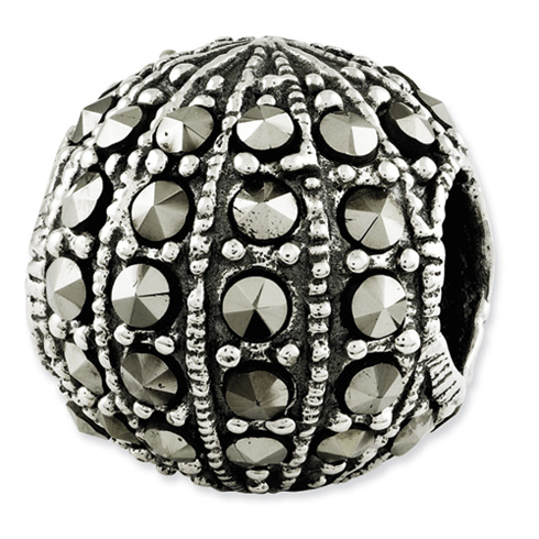 Sterling Silver Reflections Round Marcasite Bead