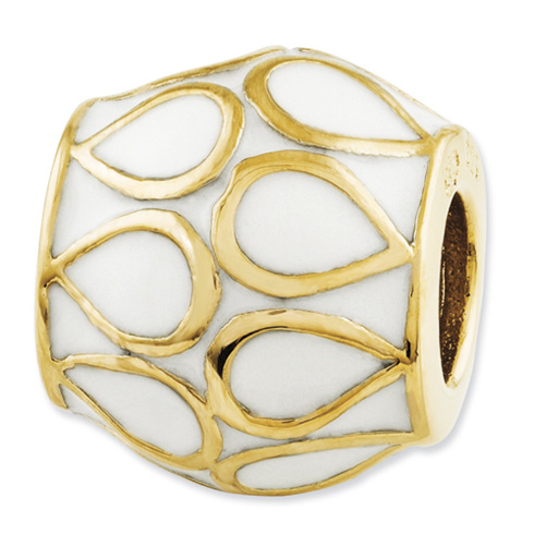 Sterling Silver Reflections Gold-plated and Enameled Bali Bead