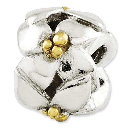 Sterling Silver Reflections Gold-plated and Polished Flowers Bead