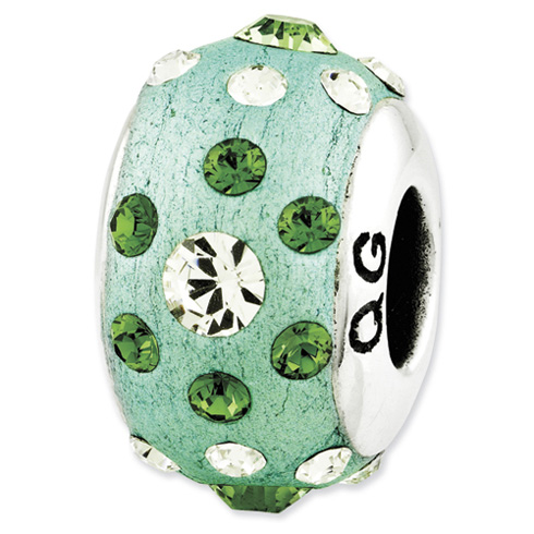Sterling Silver Reflections Green Molded with Swarovski Elements Bead