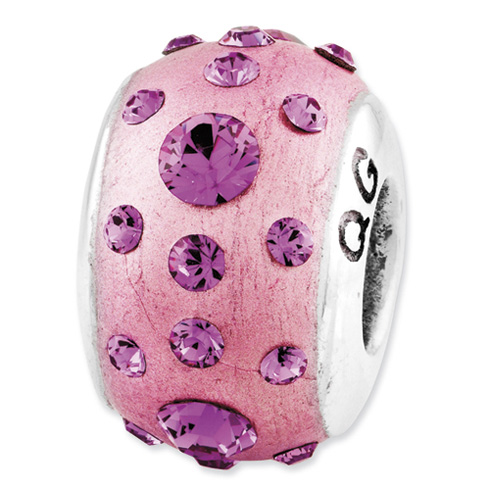 Sterling Silver Reflections Pink Molded and Swarovski Elements Bead