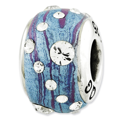 Sterling Silver Reflections Blue Purple Molded Swarovski Elements Bead