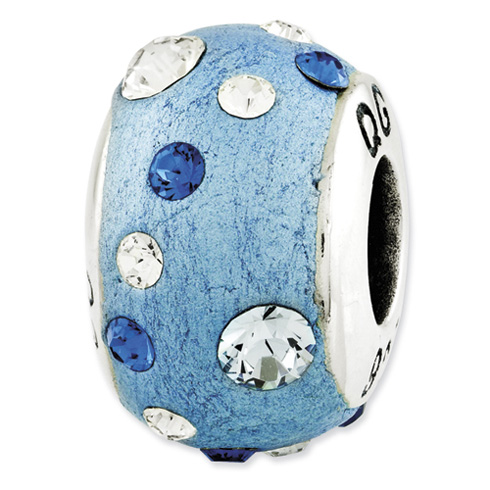 Sterling Silver Reflections Blue Molded and Swarovski Elements Bead