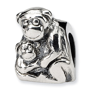 Sterling Silver Reflections Mama and Baby Monkey Bead