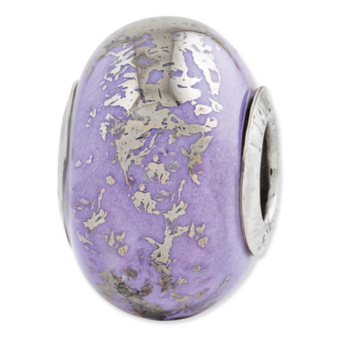 Sterling Silver Reflections Lilac with Platinum Foil Ceramic Bead
