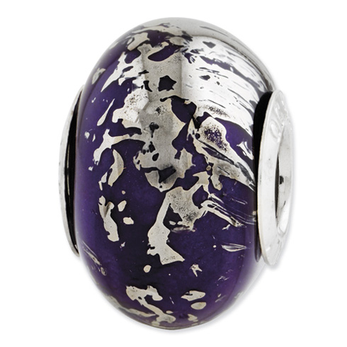 Sterling Silver Reflections Dark Purple Ceramic Bead Platinum Foil