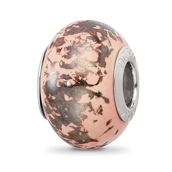 Sterling Silver Reflections Pink with Platinum Foil Ceramic Bead