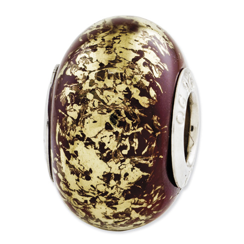 Sterling Silver Reflections Brown with Gold Foil Ceramic Bead