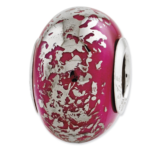 Sterling Silver Reflection Dark Pink with Platinum Foil Ceramic Bead