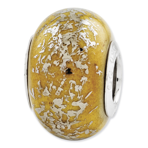 Sterling Silver Reflections Yellow Platinum Foil Ceramic Bead