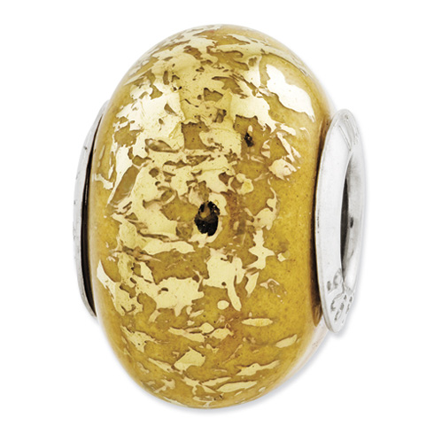 Sterling Silver Reflections Yellow with Gold Foil Ceramic Bead