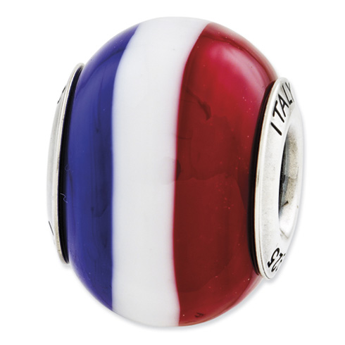 Sterling Silver Red White Blue Italian Murano Glass Bead