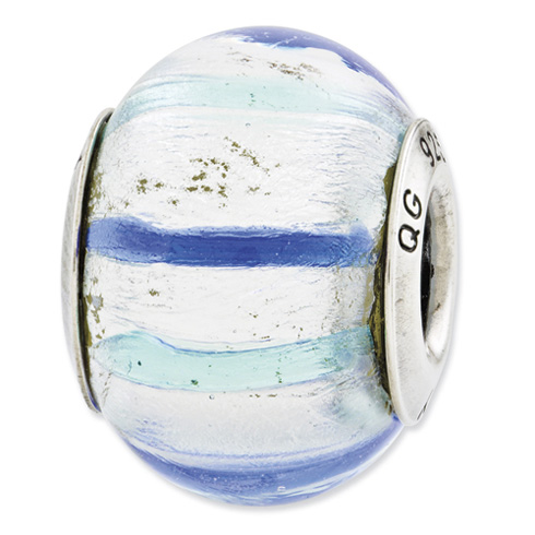 Sterling Silver Reflections Teal Blue White Italian Murano Glass Bead