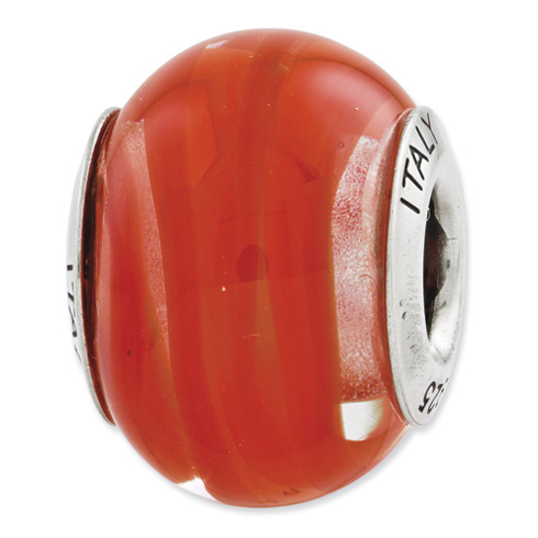 Sterling Silver Reflections Orange Red Italian Murano Glass Bead