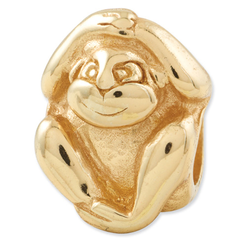 Sterling Silver Gold-plated Reflections Monkey Bead
