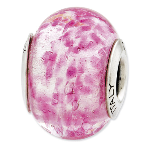 Sterling Silver Reflections Pink Italian Murano Glass Bead