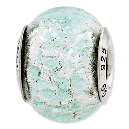 Sterling Silver Reflections Light Teal Italian Murano Glass Bead