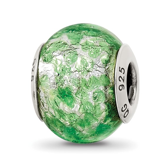 Sterling Silver Reflections Green White Italian Murano Glass Bead