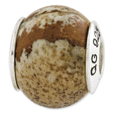 Sterling Silver Reflections Picture Jasper Natural Stone Bead