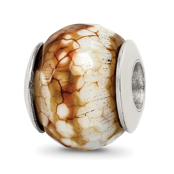 Sterling Silver Reflections Cracked Agate with Shell Stone Bead