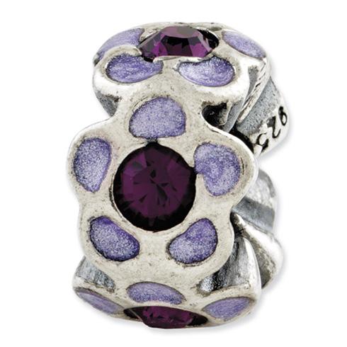 Sterling Silver Reflections Purple Swarovski Flower Enamel Bead