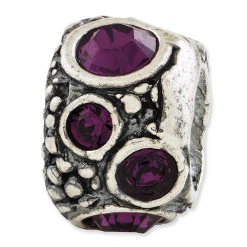 Sterling Silver Reflections Purple Swarovski Elements Bead
