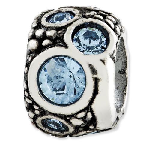 Sterling Silver Reflections Light Blue Swarovski Elements Bead