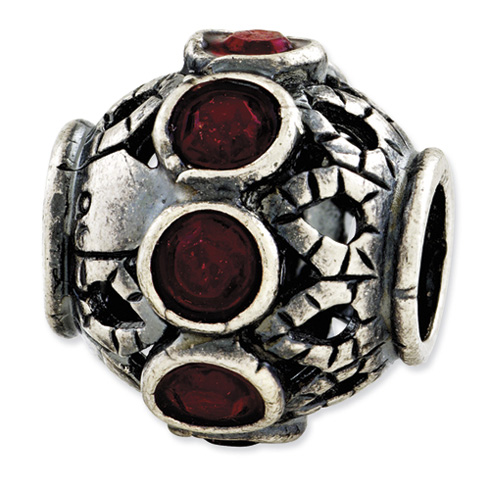 Sterling Silver Reflections Antiqued Dark Red Swarovski Elements Bead