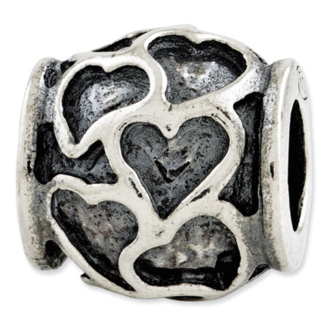 Sterling Silver Reflections Antiqued Hearts Bead