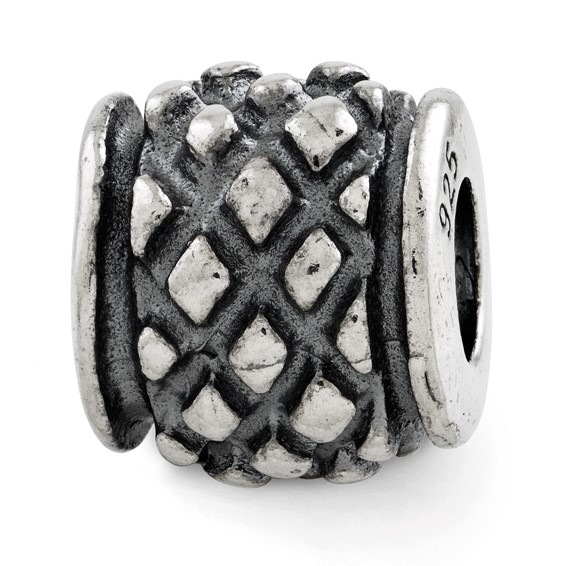 Sterling Silver Reflections Antiqued Bali Diamond Tread Bead