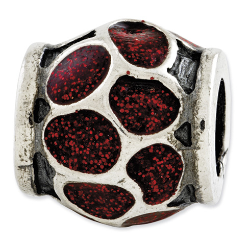 Sterling Silver Reflections Red Enamel with Sparkles Bead