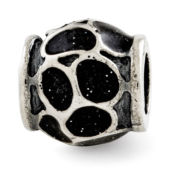 Sterling Silver Reflections Black Enamel with Sparkles Bead