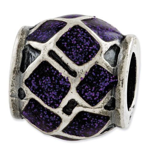 Sterling Silver Reflections Purple Enamel with Sparkles Bead