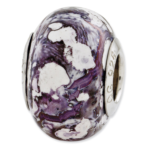 Sterling Silver Reflections Purple White Ceramic Bead