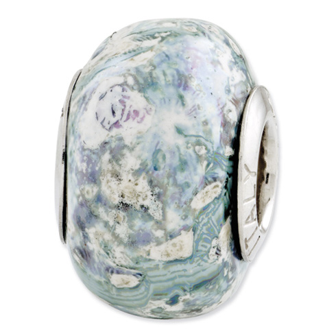 Sterling Silver Reflections Green Purple White Ceramic Bead
