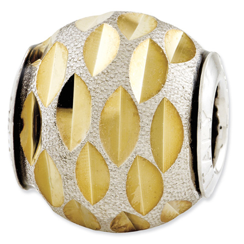 Sterling Silver Reflections Velvet Gold-plated Diamond Cut Bead