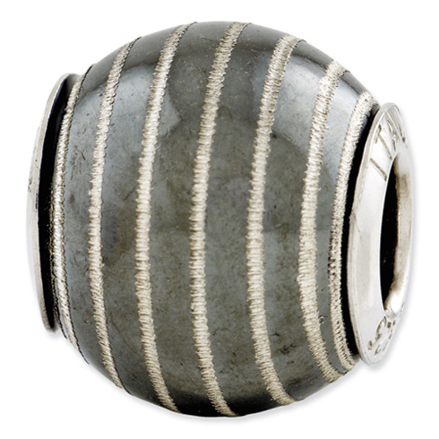 Sterling Silver Reflections Black Matte with Laser Etched Swirl Bead
