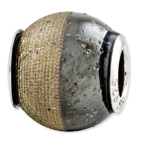 Sterling Silver Reflections Gold-plated Laser Etch Black Sparkles Bead